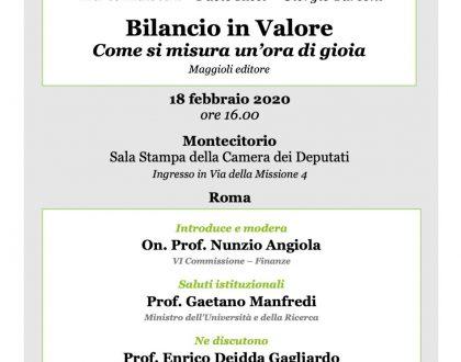 """Il Prof. Enrico DEIDDA GAGLIARDO interverrà alla presentazione del Libro """"Bilancio in Valore. Come si misura un'ora di gioia"""" (Turconi, Maiocchi e Ricci, 2019)"""